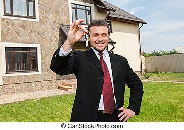 実質, 売る, 財産, キー, house., etate, エージェント, 準備ができた, クローズアップ, 保有物, 前部, 家, 微笑, マレ