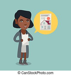 実質, 女, 財産, advertisement., アフリカ, 読書