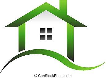 実質, 家, イメージ, 緑, 財産
