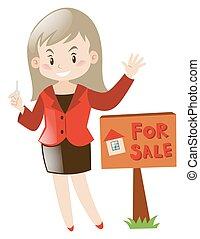実質, 家, エージェント, セール, 財産