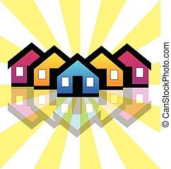 実質, 家, コンドミニアム, 財産, ロゴ