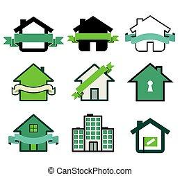 実質, 家, シンボル, 財産, ロゴ