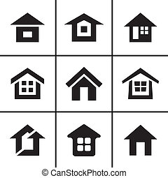 実質, 家, セット, 財産, アイコン