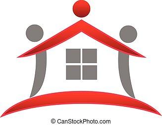 実質, 家, チームワーク, 財産, ロゴ
