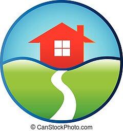実質, 家, デザイン, 財産, ロゴ