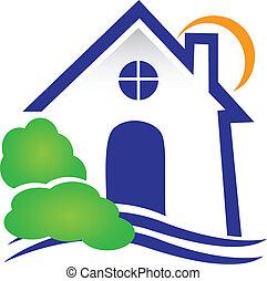 実質, 家, ベクトル, 財産, ロゴ