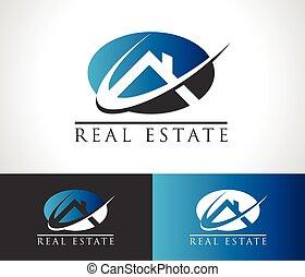 実質, 家, ロゴ, 財産, アイコン