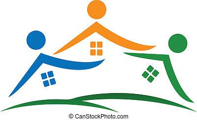 実質, 家, ロゴ, 財産