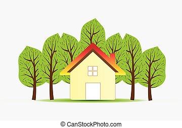 実質, 家, ロゴ, 財産, ベクトル