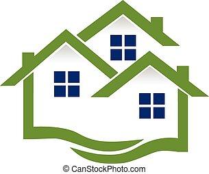 実質, 家, ロゴ, 財産, 波