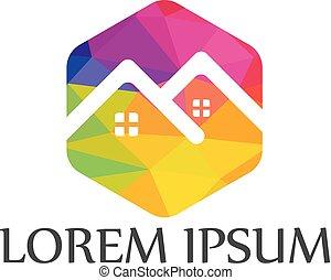 実質, 家, 会社, logo., 財産