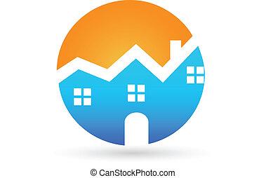 実質, 家, 日当たりが良い, 財産, ロゴ