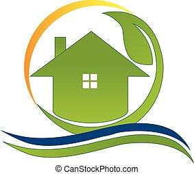 実質, 家, 緑, 財産, ロゴ