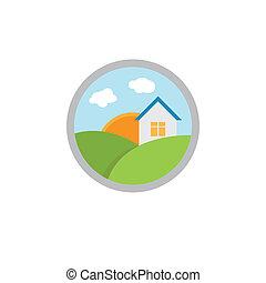 実質, 家, 財産, アイコン