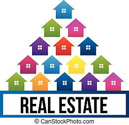 実質, 家, 財産, カラフルである, ロゴ