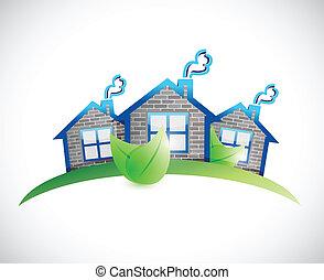 実質, 家, 財産, シンボル, イラスト, 緑