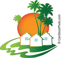 実質, 家, 財産, ビジネス, ロゴ