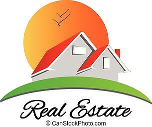 実質, 家, 財産, 赤, ロゴ