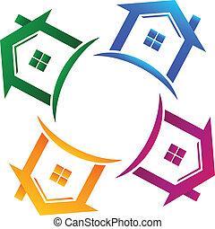 実質, 家, 4, 財産, ロゴ
