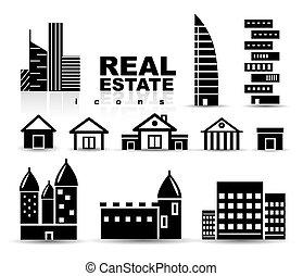 実質, 建物, セット, 財産, 家, 黒, |, アイコン