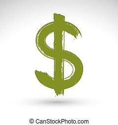実質, 木びき台, 作成される, 印。, ドル, 隔離された, 黄色, 手, 通貨, スキャンされる, 緑, ブラシ, ...