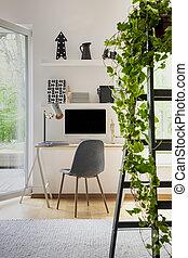 実質, 植物, 写真, オフィス, lamp., はしご, 灰色, 窓, 机, 内部, 家, 白, 椅子