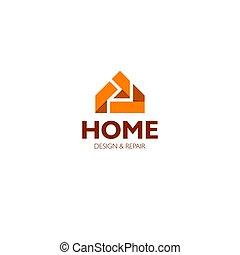 実質, 概念, 財産, ビジネス, 家, ホテル, 代理店, 隔離された, 背景, ベクトル, アイコン, 家, 白, logotype, ロゴ, illustration.