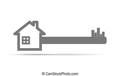 実質, 概念, 財産, 家, イラスト, ベクトル, key.