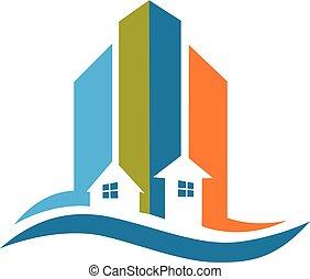 実質, 現代, ロゴ, 建物, 財産