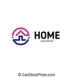 実質, 紫色, 芸術, 線である, 財産, logotype., 家, ベクトル, 黒, すみれ, 家, 線, logo., icon., 痛みなさい, アウトライン