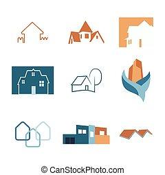 実質, 網, logos., 財産, アイコン, 家, set., 建設, vector., logo.