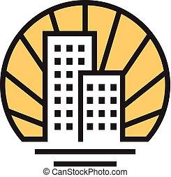 実質, 線である, 家, 財産, ベクトル, ロゴ, 家
