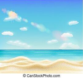 実質, 美しい, 明るい, 砂, ベクトル, 海, 浜