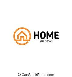 実質, 芸術, 線である, 財産, logotype., 家, ベクトル, 黒, オレンジ, 家, 線, logo., icon., 痛みなさい, アウトライン