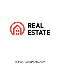 実質, 芸術, 線である, 財産, logotype., 家, ベクトル, 黒, 痛みなさい, 家, 線, logo., icon., 赤, アウトライン