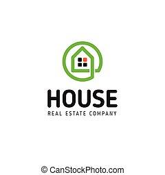 実質, 芸術, 線である, 財産, logotype., 家, 黒, ベクトル, 緑, 家, 線, logo., icon., 痛みなさい, アウトライン