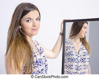 実質, 若い女性, ちょっと立ち寄る, a, 鏡