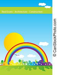 実質, 虹, -, 建築, 財産, カバー, 家, シルエット, 建設, パンフレット, 会社
