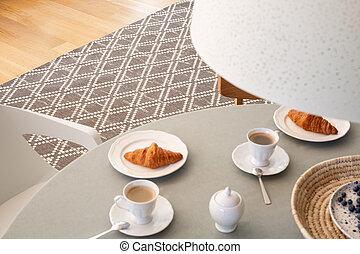 実質, 角度, 部屋, scandi, 写真, 灰色, 高く, 食事をする, interior., クロワッサン, カップ, テーブル