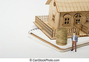 実質, 購入, 概念, スペース, 家, ハウジング, 金, テキスト, 保険, 財産, モデル, コピー, コイン