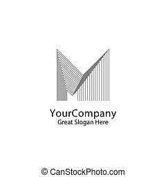 実質, 都市, 概念, 線である, ビジネス, 都市, estate., アウトライン, m, シンボル。, 創造的, スカイライン, ベクトル, デザイン, 手紙, モノクローム, ロゴ, monogram, 企業である, ∥あるいは∥, illustration.
