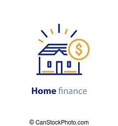 実質, 金融, 財産, 概念, 家, 予算, 家, 投資, アイコン