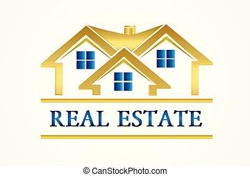 実質, 金, 家, 財産, ロゴ