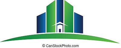 実質, 青緑, 財産, ロゴ