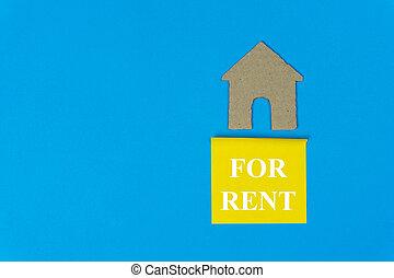 実質, 青, 作られた, 財産, 家, concept., 販売サイン, ペーパー, バックグラウンド。, 切口, 賃貸料, 下に, 小さい, 家, 特性, rent.