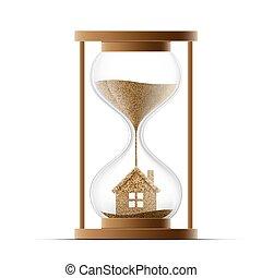 実質, estate., house., 建設, 特性, 砂時計