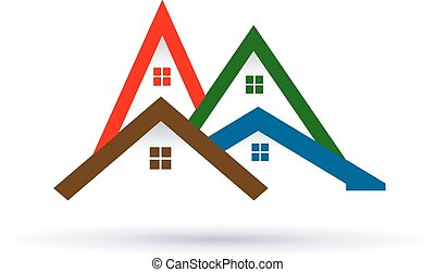 実質, image., 財産, 家, ベクトル, 緑, アイコン