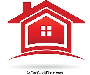 実質, image., 財産, 家, ベクトル, 赤, アイコン