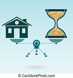 実質, market., スケール, 財産, 金, 家, コイン, お金。, mortgage., balance., 時間, 砂時計