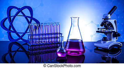 実験室 ガラス製品, 化学, 科学, 背景